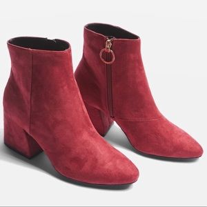 Top Shop Berry Suede Vegan Gold Side Zip Bootie